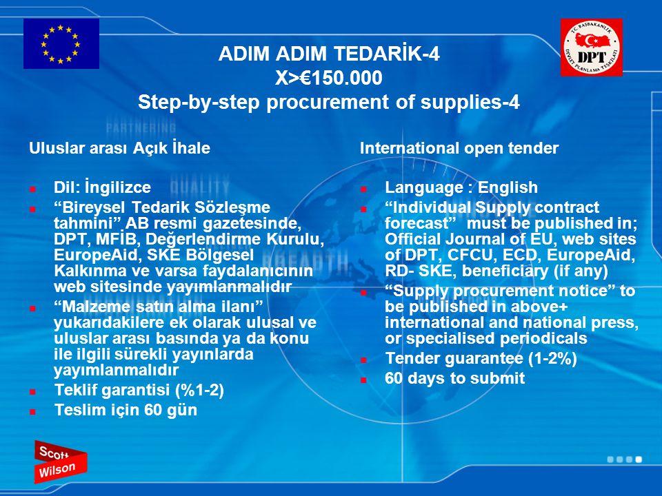 """ADIM ADIM TEDARİK-4 X>€150.000 Step-by-step procurement of supplies-4 Uluslar arası Açık İhale Dil: İngilizce """"Bireysel Tedarik Sözleşme tahmini"""" AB r"""