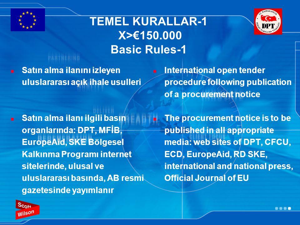 TEMEL KURALLAR-2 €30.000<X<€150.000 Basic Rules-2 Yerel olarak yayımlanmış açık ihale usulü Yerel satın alma ilanı yayımlanır: Türkiye'deki ilgili basın organlarında; DPT, MFİB, EuropeAid, SKE Bölgesel Kalkınma Programı internet sitelerinde; ulusal basında Open tender procedure published locally The procurement notice is to be published locally: in all appropriate media in Turkey: web sites of DPT, CFCU, RD SKE, and national press