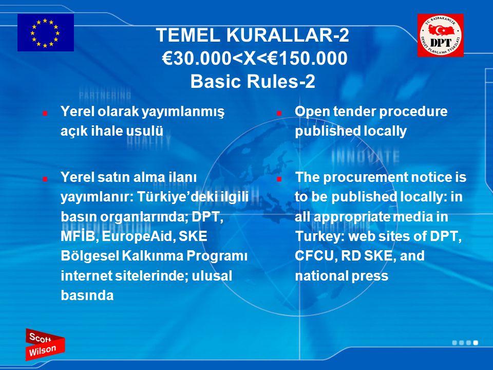 TEMEL KURALLAR-2 €30.000<X<€150.000 Basic Rules-2 Yerel olarak yayımlanmış açık ihale usulü Yerel satın alma ilanı yayımlanır: Türkiye'deki ilgili bas