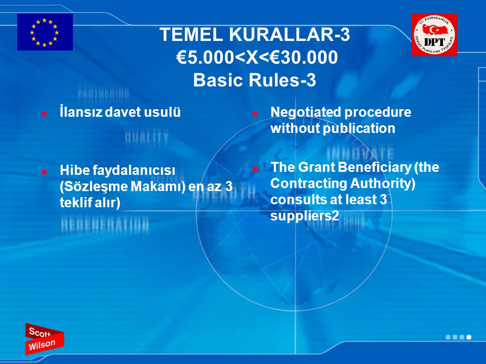 TEMEL KURALLAR-3 €5.000<X<€30.000 Basic Rules-3 İlansız davet usulü Hibe faydalanıcısı (Sözleşme Makamı) en az 3 teklif alır) Negotiated procedure wit