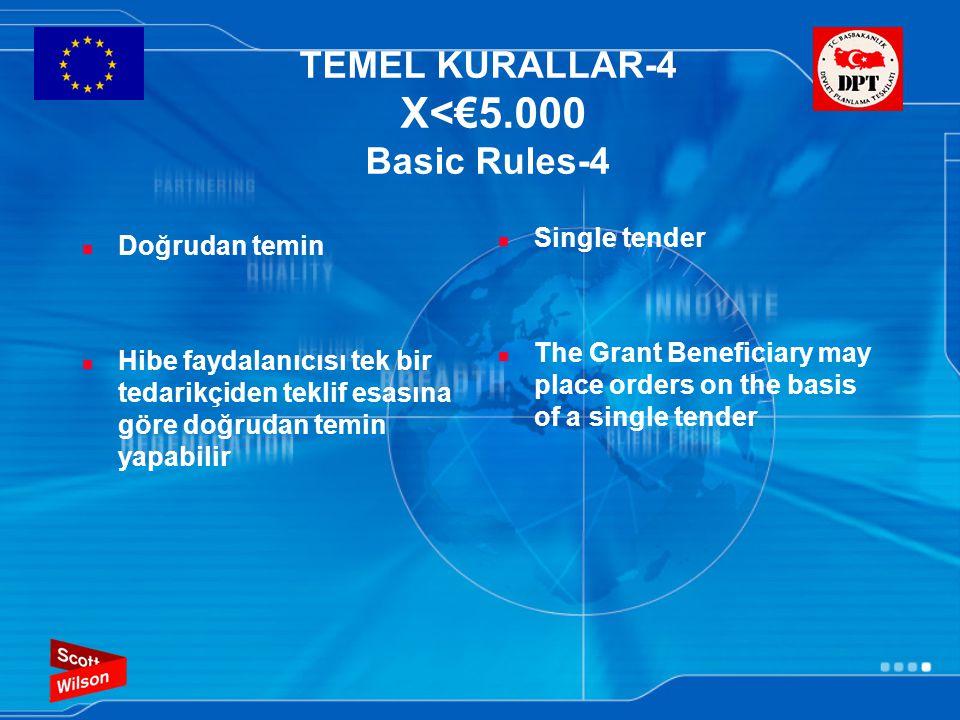 TEMEL KURALLAR-4 X<€5.000 Basic Rules-4 Doğrudan temin Hibe faydalanıcısı tek bir tedarikçiden teklif esasına göre doğrudan temin yapabilir Single ten