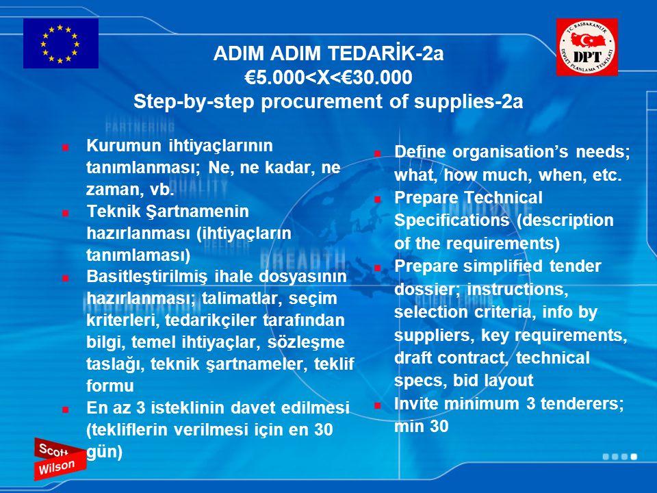 ADIM ADIM TEDARİK-2b €5.000<X<€30.000 Step-by-step procurement of supplies-2b Yazılı tekliflerin alınması Tekliflerin değerlendirilmesi: Teknik şartnameler ile tekliflerin karşılaştırılması (teknik olarak yeterli ya da değil) ve en düşük fiyatlı teklifin seçilmesi İhalenin karara bağlanması/ Başarısızların bilgilendirilmesi Sözleşmenin yapılması Her bir adım kayıt altına alınmalı ve dosyalanmalıdır.