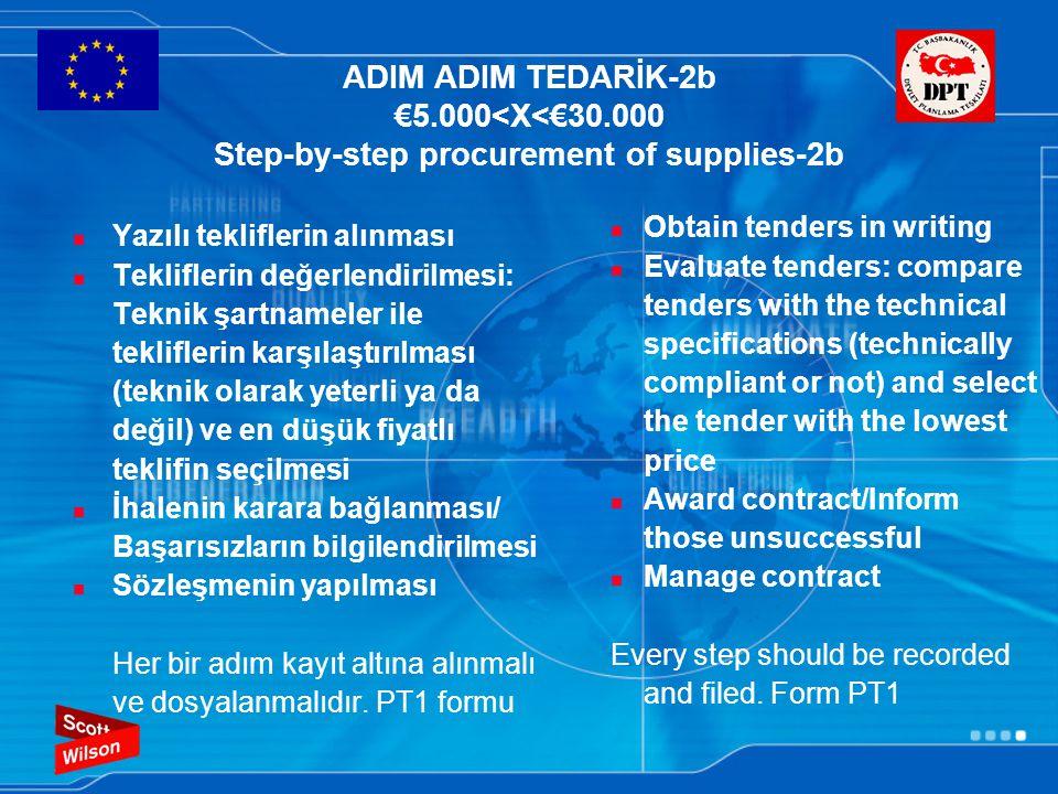 ADIM ADIM TEDARİK-2b €5.000<X<€30.000 Step-by-step procurement of supplies-2b Yazılı tekliflerin alınması Tekliflerin değerlendirilmesi: Teknik şartna