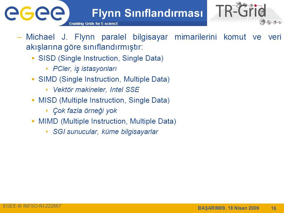 Enabling Grids for E-sciencE EGEE-III INFSO-RI-222667 BAŞARIM09, 18 Nisan 2009 16 Flynn Sınıflandırması –Michael J.