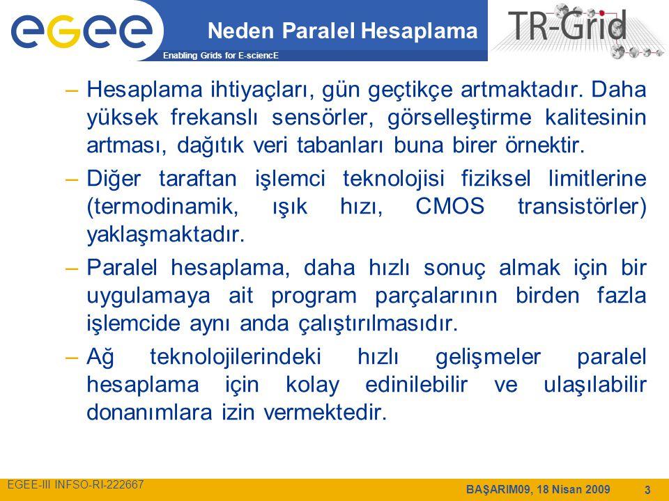 Enabling Grids for E-sciencE EGEE-III INFSO-RI-222667 BAŞARIM09, 18 Nisan 2009 3 Neden Paralel Hesaplama –Hesaplama ihtiyaçları, gün geçtikçe artmaktadır.
