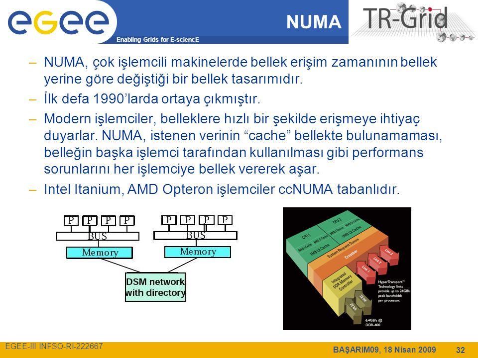Enabling Grids for E-sciencE EGEE-III INFSO-RI-222667 BAŞARIM09, 18 Nisan 2009 32 NUMA –NUMA, çok işlemcili makinelerde bellek erişim zamanının bellek yerine göre değiştiği bir bellek tasarımıdır.