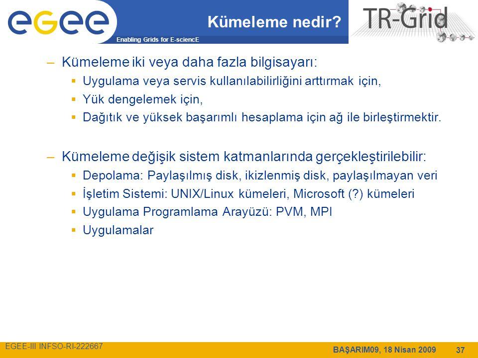 Enabling Grids for E-sciencE EGEE-III INFSO-RI-222667 BAŞARIM09, 18 Nisan 2009 37 Kümeleme nedir.