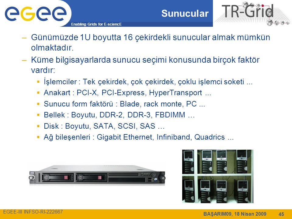 Enabling Grids for E-sciencE EGEE-III INFSO-RI-222667 BAŞARIM09, 18 Nisan 2009 45 Sunucular –Günümüzde 1U boyutta 16 çekirdekli sunucular almak mümkün olmaktadır.