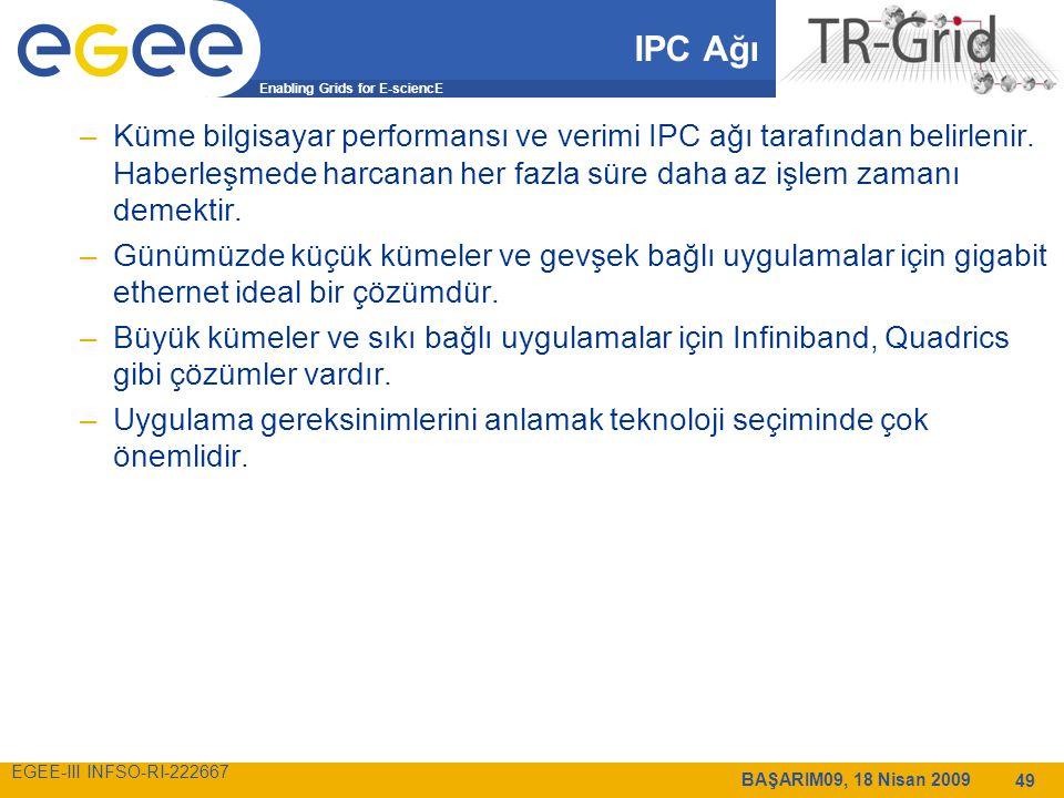 Enabling Grids for E-sciencE EGEE-III INFSO-RI-222667 BAŞARIM09, 18 Nisan 2009 49 IPC Ağı –Küme bilgisayar performansı ve verimi IPC ağı tarafından belirlenir.