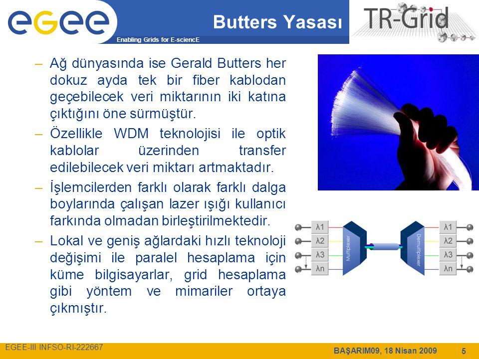 Enabling Grids for E-sciencE EGEE-III INFSO-RI-222667 BAŞARIM09, 18 Nisan 2009 5 Butters Yasası –Ağ dünyasında ise Gerald Butters her dokuz ayda tek bir fiber kablodan geçebilecek veri miktarının iki katına çıktığını öne sürmüştür.