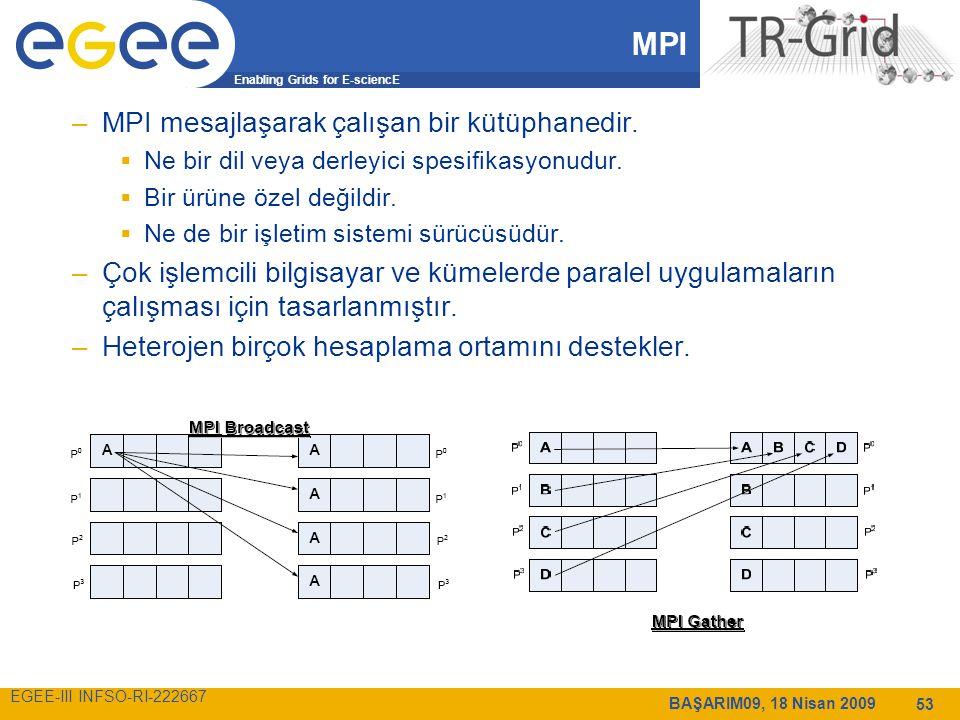 Enabling Grids for E-sciencE EGEE-III INFSO-RI-222667 BAŞARIM09, 18 Nisan 2009 53 MPI –MPI mesajlaşarak çalışan bir kütüphanedir.