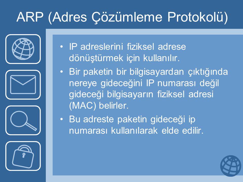 ARP (Adres Çözümleme Protokolü) IP adreslerini fiziksel adrese dönüştürmek için kullanılır. Bir paketin bir bilgisayardan çıktığında nereye gideceğini