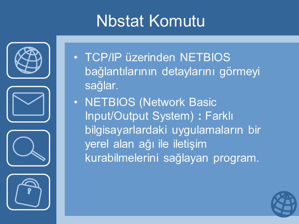 Nbstat Komutu TCP/IP üzerinden NETBIOS bağlantılarının detaylarını görmeyi sağlar. NETBIOS (Network Basic Input/Output System) : Farklı bilgisayarlard