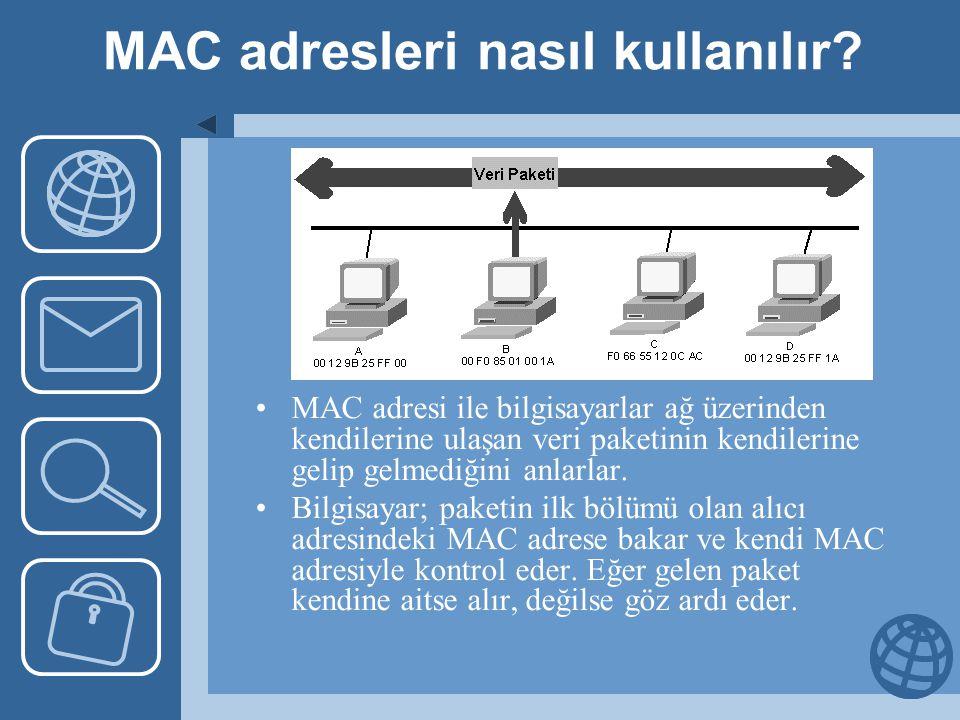 MAC adresleri nasıl kullanılır? MAC adresi ile bilgisayarlar ağ üzerinden kendilerine ulaşan veri paketinin kendilerine gelip gelmediğini anlarlar. Bi