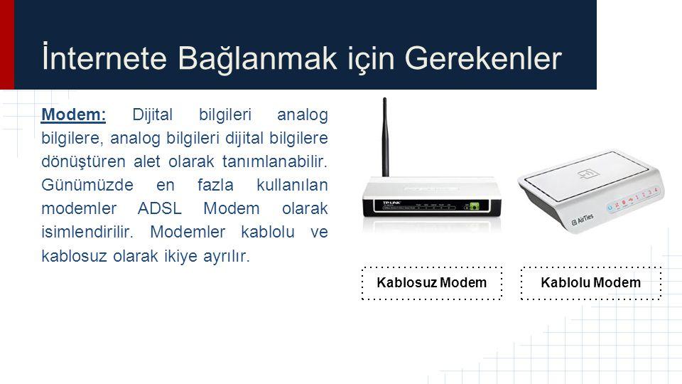 İnternete Bağlanmak için Gerekenler Modem: Dijital bilgileri analog bilgilere, analog bilgileri dijital bilgilere dönüştüren alet olarak tanımlanabili
