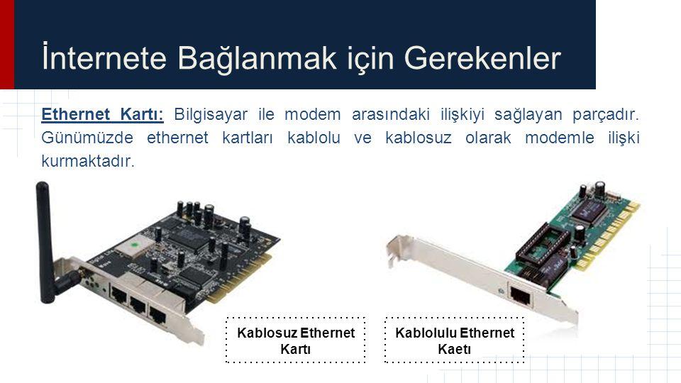 İnternete Bağlanmak için Gerekenler Ethernet Kartı: Bilgisayar ile modem arasındaki ilişkiyi sağlayan parçadır. Günümüzde ethernet kartları kablolu ve