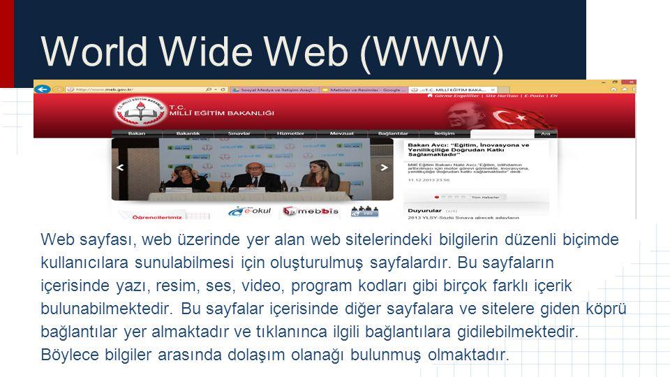 World Wide Web (WWW) Web sayfası, web üzerinde yer alan web sitelerindeki bilgilerin düzenli biçimde kullanıcılara sunulabilmesi için oluşturulmuş say