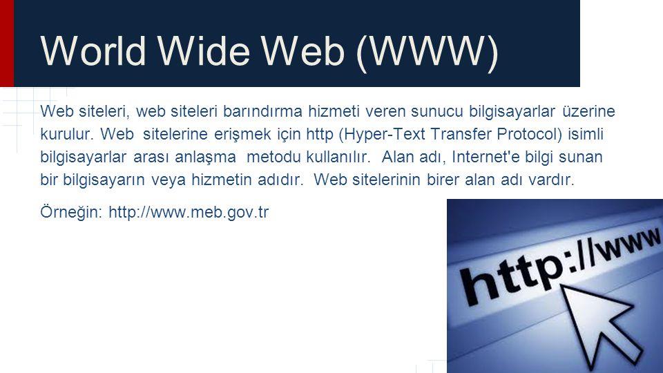 World Wide Web (WWW) Web siteleri, web siteleri barındırma hizmeti veren sunucu bilgisayarlar üzerine kurulur. Web sitelerine erişmek için http (Hyper