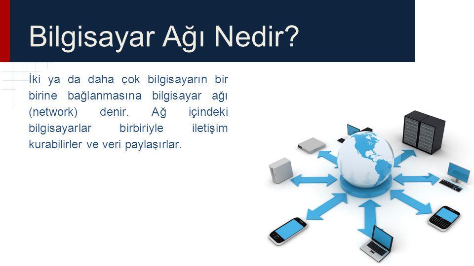 Bilgisayar Ağı Nedir? İki ya da daha çok bilgisayarın bir birine bağlanmasına bilgisayar ağı (network) denir. Ağ içindeki bilgisayarlar birbiriyle ile