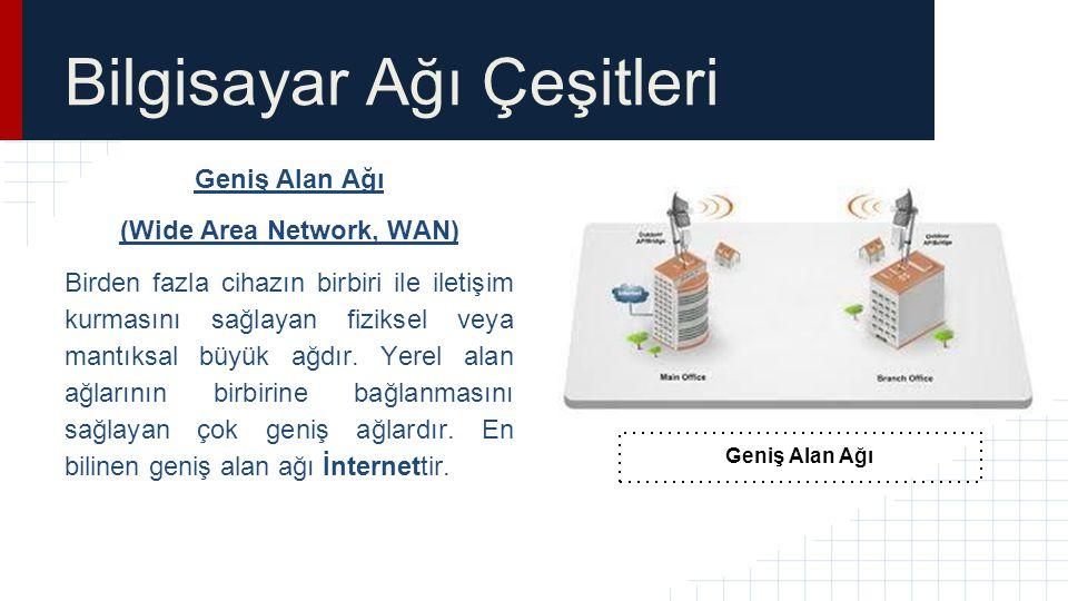 Bilgisayar Ağı Çeşitleri Geniş Alan Ağı (Wide Area Network, WAN) Birden fazla cihazın birbiri ile iletişim kurmasını sağlayan fiziksel veya mantıksal