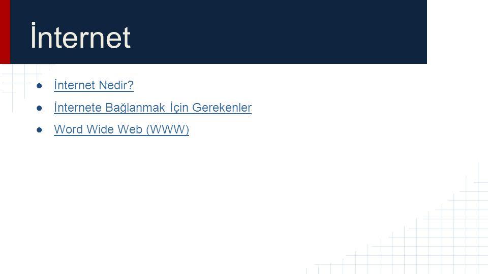 İnternet ●İnternet Nedir?İnternet Nedir? ●İnternete Bağlanmak İçin Gerekenlerİnternete Bağlanmak İçin Gerekenler ●Word Wide Web (WWW)Word Wide Web (WW