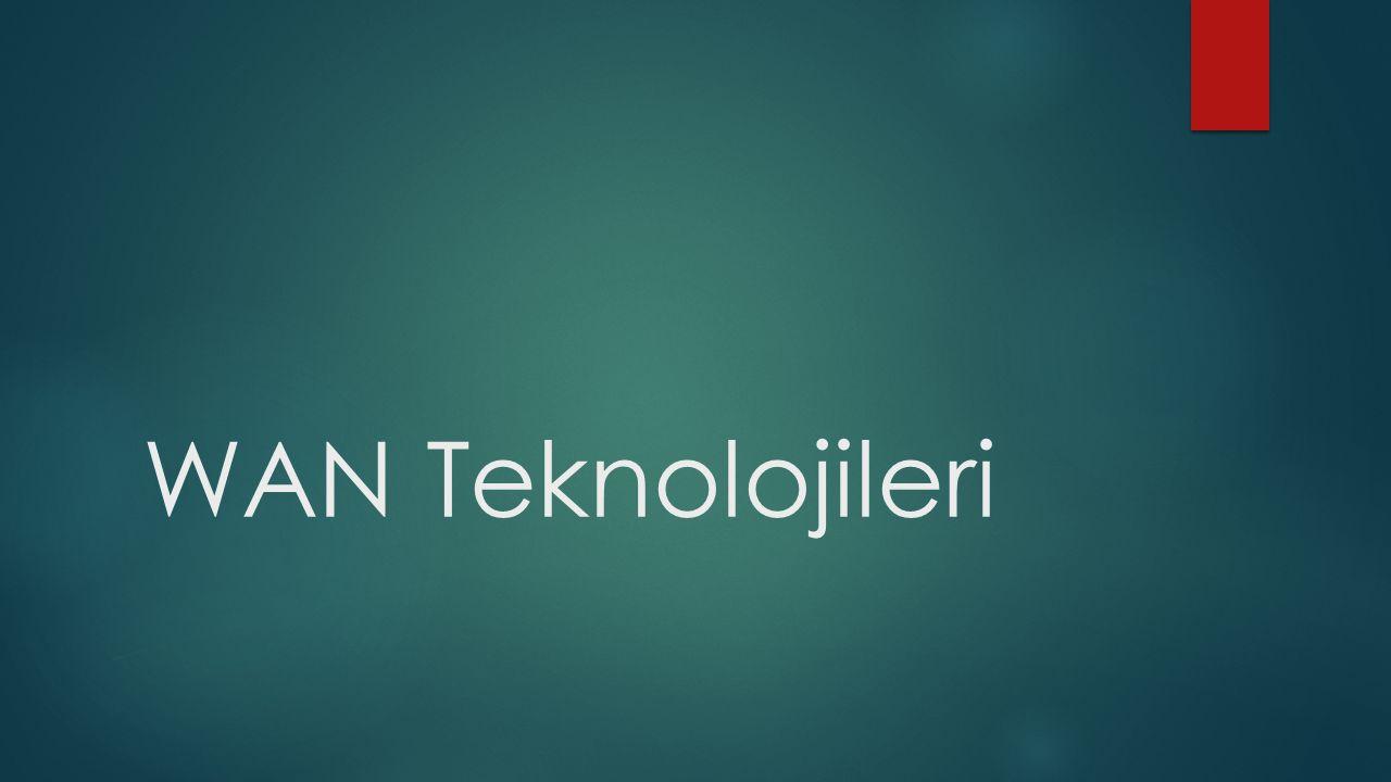 LAN-MAN-WAN Karşılaştırılması WANMANLAN Coğrafi Büyüklük1.000'lerce km1-100 km arası0-5 km Düğüm Sayısı10.000'lerce1-5001-200 Bit Hızı0.1-100 kbits/s1-100 Mbits/s Gecikme> 0.5 sn100-1000 ms1-100 ms YönlendirmeKarmaşıkBasitYok Bağlantı AygıtıYönlendiricilerKöprüler