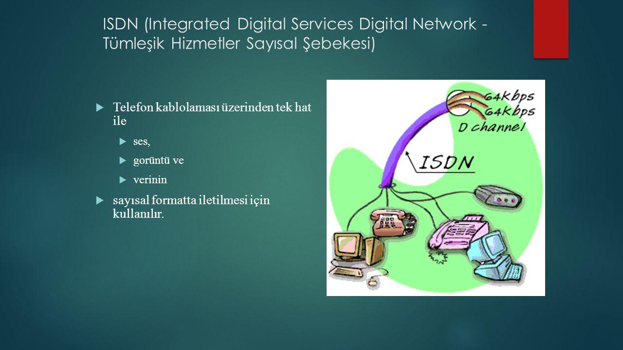 ISDN (Integrated Digital Services Digital Network - Tümleşik Hizmetler Sayısal Şebekesi)  Telefon kablolaması üzerinden tek hat ile  ses,  gorüntü