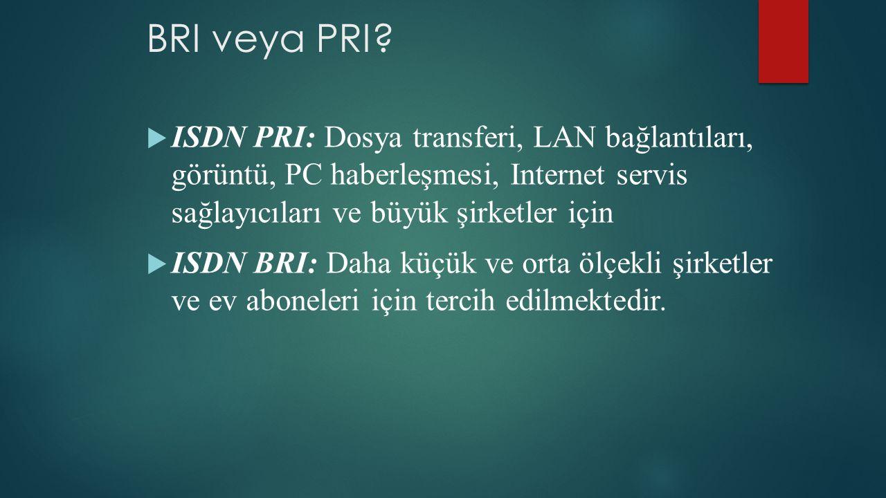 BRI veya PRI?  ISDN PRI: Dosya transferi, LAN bağlantıları, görüntü, PC haberleşmesi, Internet servis sağlayıcıları ve büyük şirketler için  ISDN BR