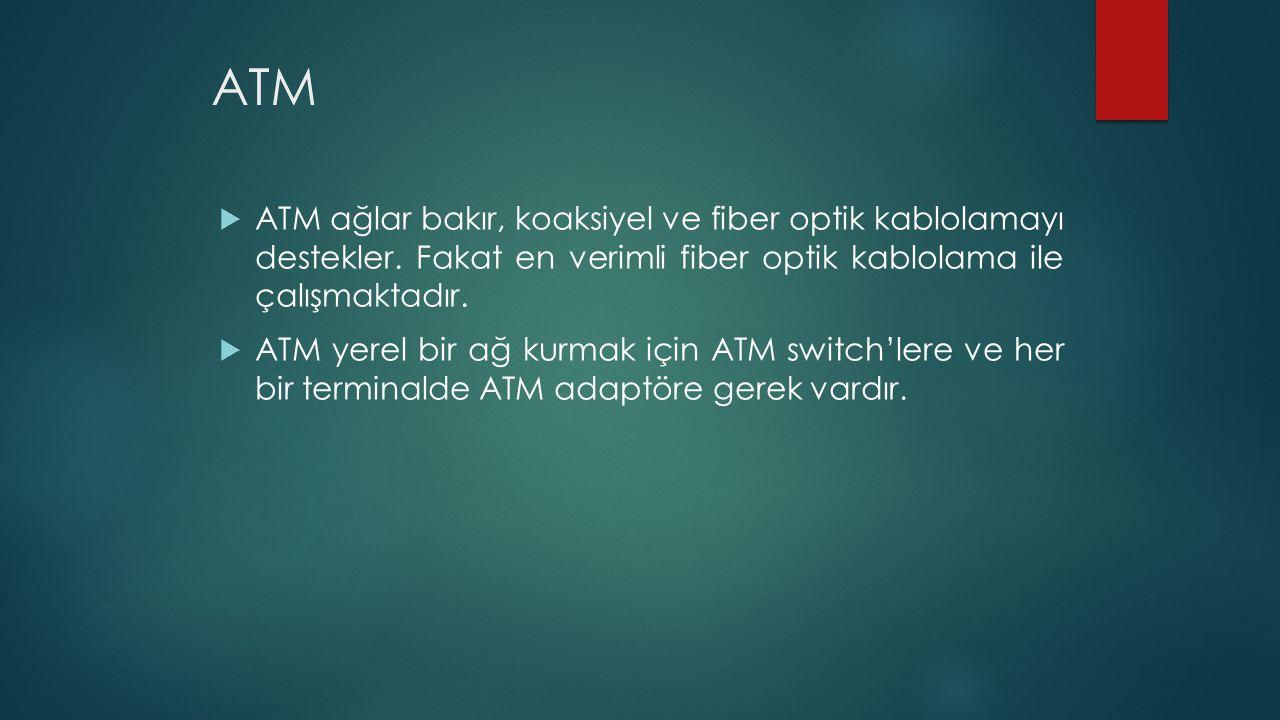ATM  ATM ağlar bakır, koaksiyel ve fiber optik kablolamayı destekler. Fakat en verimli fiber optik kablolama ile çalışmaktadır.  ATM yerel bir ağ ku