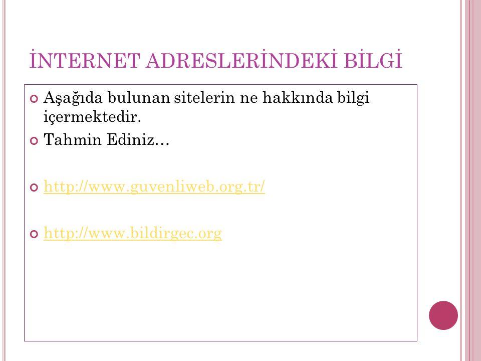 İNTERNET ADRESLERİNDEKİ BİLGİ Aşağıda bulunan sitelerin ne hakkında bilgi içermektedir.