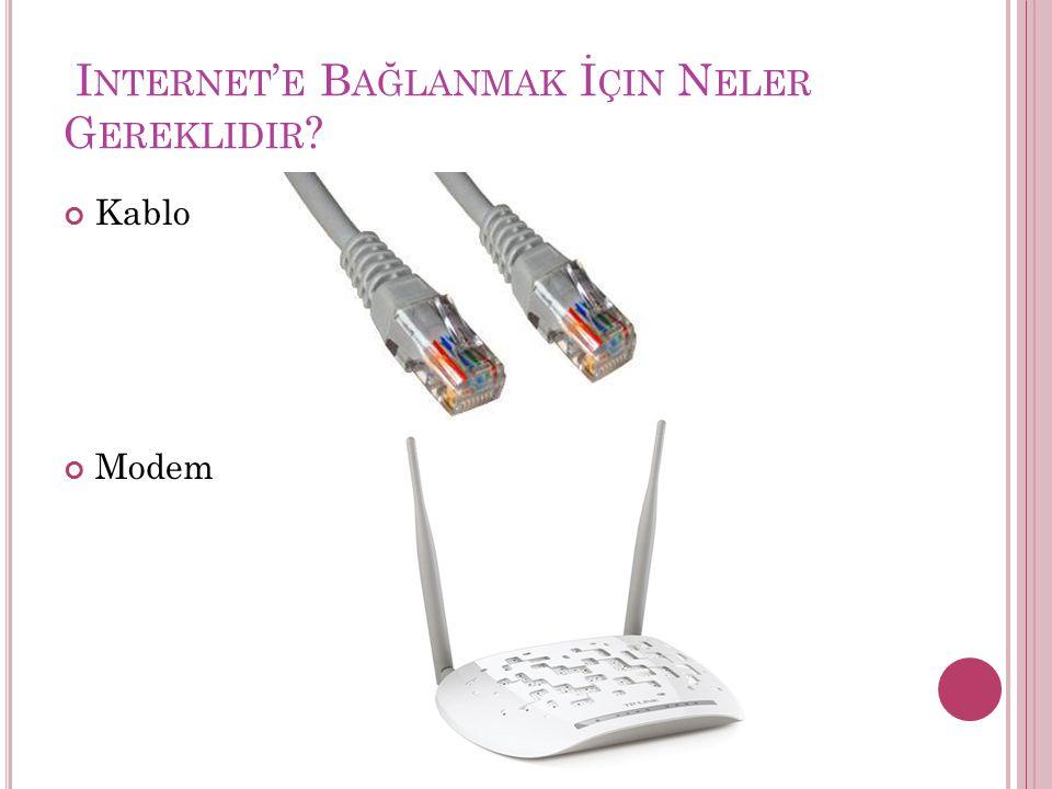 I NTERNET ' E B AĞLANMAK İ ÇIN N ELER G EREKLIDIR ? Kablo Modem