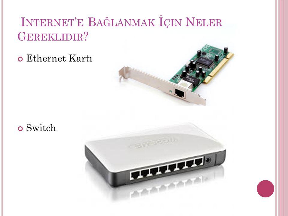 I NTERNET ' E B AĞLANMAK İ ÇIN N ELER G EREKLIDIR ? Ethernet Kartı Switch