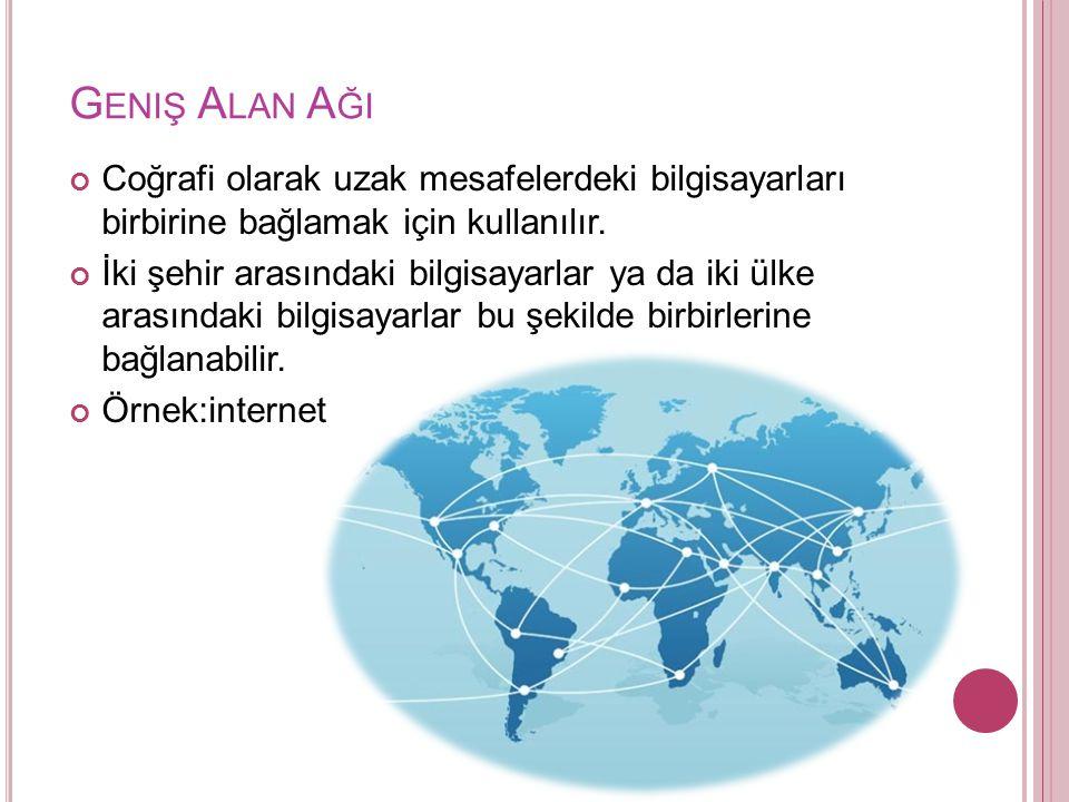 G ENIŞ A LAN A ĞI Coğrafi olarak uzak mesafelerdeki bilgisayarları birbirine bağlamak için kullanılır.