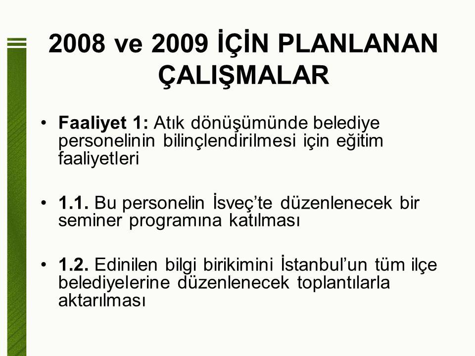 2008 ve 2009 İÇİN PLANLANAN ÇALIŞMALAR Faaliyet 2: Eğitim alan personelin belediyelerinde geri dönüşüm konusunda çalışan diğer personeli eğitmesi Faaliyet 3: Stratejik plan hazırlanması 3.1.