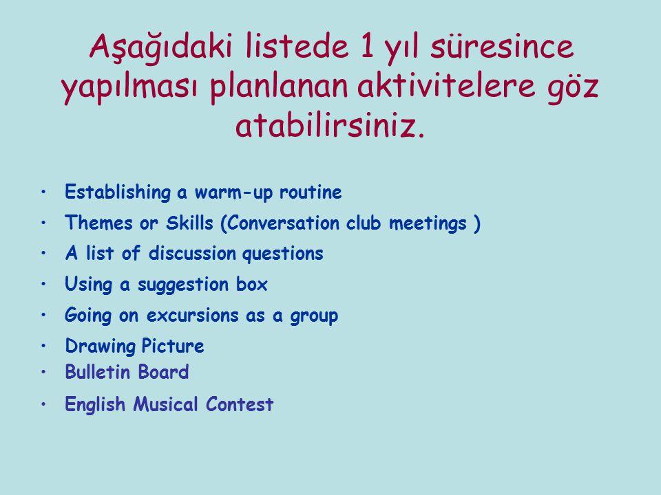 Aşağıdaki listede 1 yıl süresince yapılması planlanan aktivitelere göz atabilirsiniz.