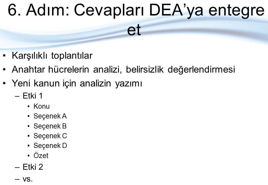 6. Adım: Cevapları DEA'ya entegre et Karşılıklı toplantılar Anahtar hücrelerin analizi, belirsizlik değerlendirmesi Yeni kanun için analizin yazımı –E