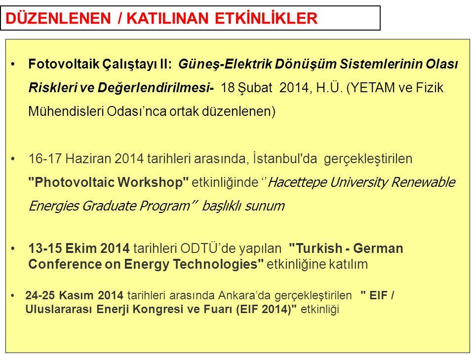 DÜZENLENEN / KATILINAN ETKİNLİKLER Fotovoltaik Çalıştayı II: Güneş-Elektrik Dönüşüm Sistemlerinin Olası Riskleri ve Değerlendirilmesi- 18 Şubat 2014,