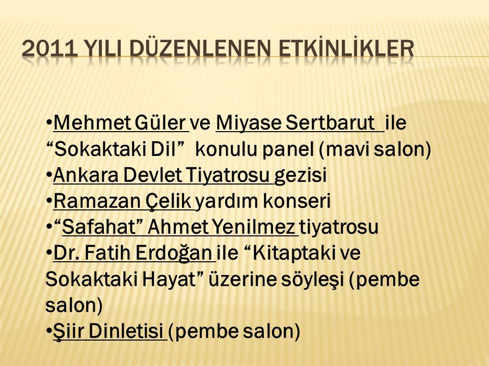 """Mehmet Güler ve Miyase Sertbarut ile """"Sokaktaki Dil"""" konulu panel (mavi salon) Ankara Devlet Tiyatrosu gezisi Ramazan Çelik yardım konseri """"Safahat"""" A"""