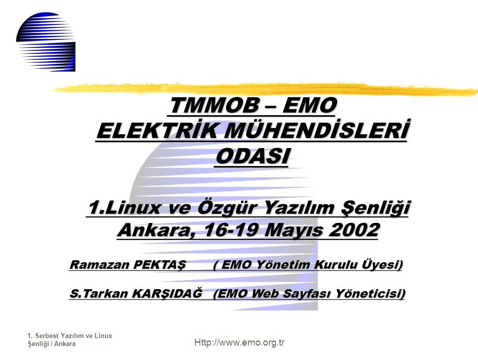 1. Serbest Yazılım ve Linux Şenliği / Ankara Http://www.emo.org.tr TMMOB – EMO ELEKTRİK MÜHENDİSLERİ ODASI 1.Linux ve Özgür Yazılım Şenliği Ankara, 16