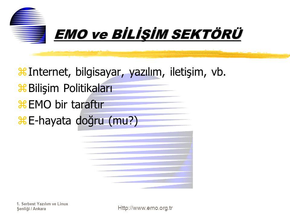 1. Serbest Yazılım ve Linux Şenliği / Ankara Http://www.emo.org.tr EMO ve BİLİŞİM SEKTÖRÜ zInternet, bilgisayar, yazılım, iletişim, vb. zBilişim Polit