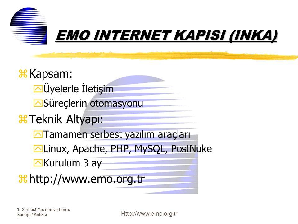 1. Serbest Yazılım ve Linux Şenliği / Ankara Http://www.emo.org.tr EMO INTERNET KAPISI (INKA) zKapsam: yÜyelerle İletişim ySüreçlerin otomasyonu zTekn