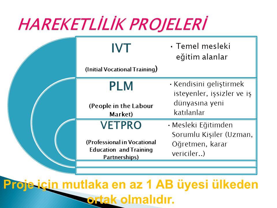 IVT (Initial Vocational Training ) PLM (People in the Labour Market) VETPRO (Professional in Vocational Education and Training Partnerships) Temel mesleki eğitim alanlar Kendisini geliştirmek isteyenler, işsizler ve iş dünyasına yeni katılanlar Mesleki Eğitimden Sorumlu Kişiler (Uzman, Öğretmen, karar vericiler..) Proje için mutlaka en az 1 AB üyesi ülkeden ortak olmalıdır.