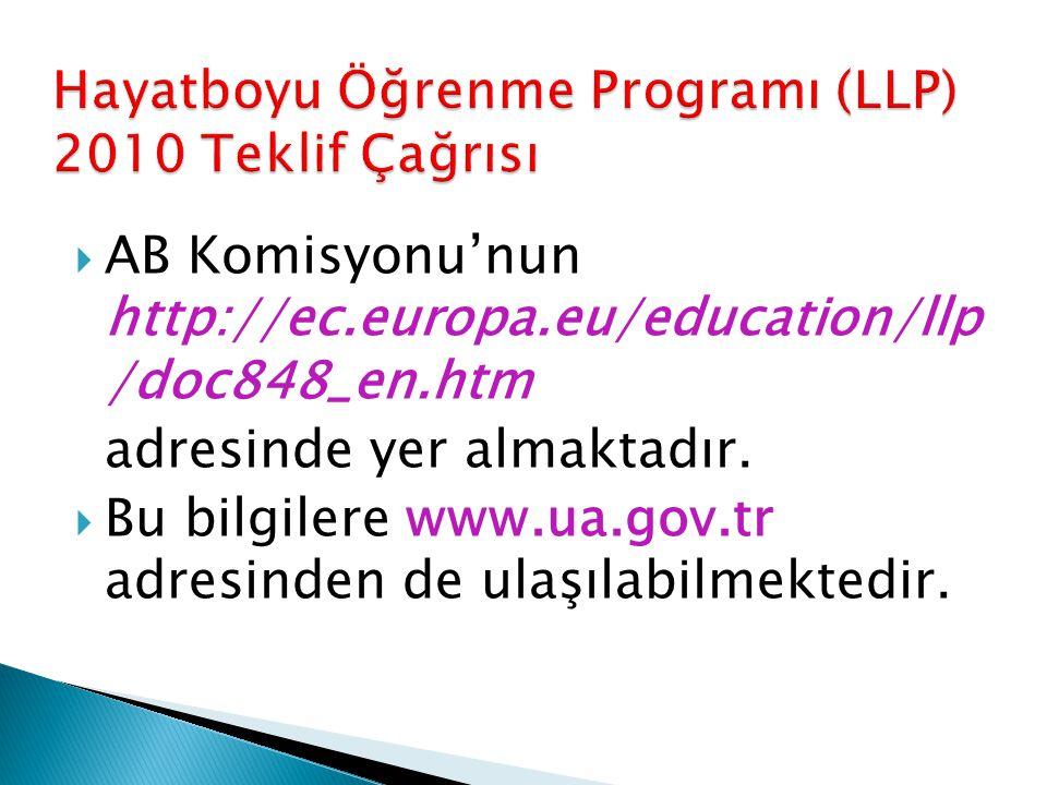  AB Komisyonu'nun http://ec.europa.eu/education/llp /doc848_en.htm adresinde yer almaktadır.