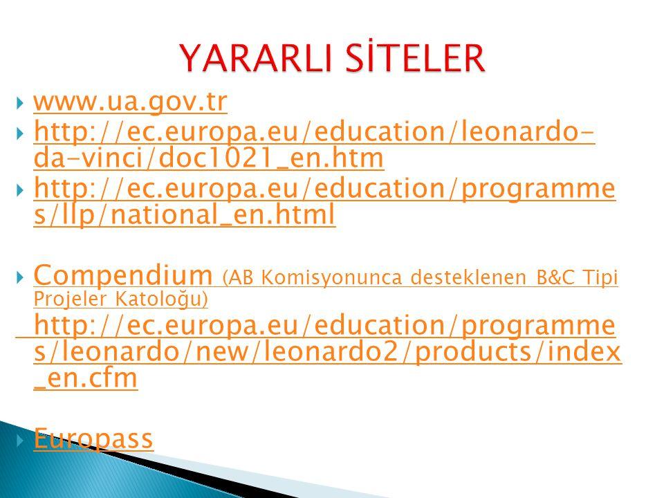  www.ua.gov.tr www.ua.gov.tr  http://ec.europa.eu/education/leonardo- da-vinci/doc1021_en.htm http://ec.europa.eu/education/leonardo- da-vinci/doc1021_en.htm  http://ec.europa.eu/education/programme s/llp/national_en.html http://ec.europa.eu/education/programme s/llp/national_en.html  Compendium (AB Komisyonunca desteklenen B&C Tipi Projeler Katoloğu) Compendium (AB Komisyonunca desteklenen B&C Tipi Projeler Katoloğu) http://ec.europa.eu/education/programme s/leonardo/new/leonardo2/products/index _en.cfm  Europass Europass