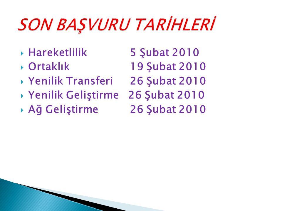  Hareketlilik 5 Şubat 2010  Ortaklık19 Şubat 2010  Yenilik Transferi26 Şubat 2010  Yenilik Geliştirme 26 Şubat 2010  Ağ Geliştirme26 Şubat 2010