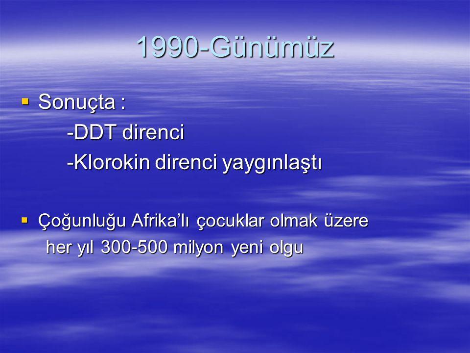 1990-Günümüz  Sonuçta : -DDT direnci -DDT direnci -Klorokin direnci yaygınlaştı -Klorokin direnci yaygınlaştı  Çoğunluğu Afrika'lı çocuklar olmak üz