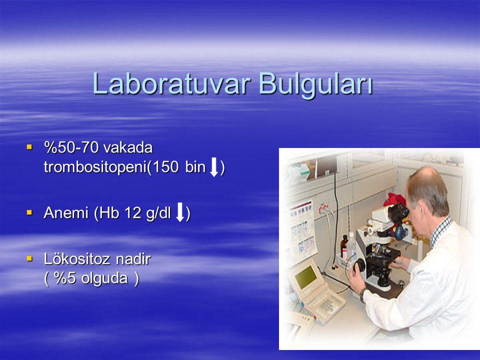 Laboratuvar Bulguları  %50-70 vakada trombositopeni(150 bin )  Anemi (Hb 12 g/dl )  Lökositoz nadir ( %5 olguda )