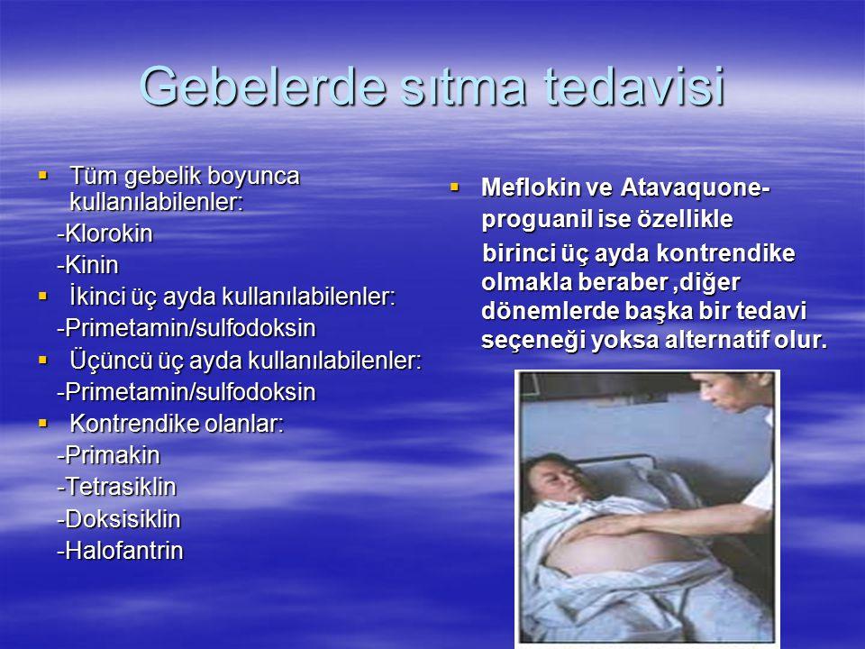 Gebelerde sıtma tedavisi  Tüm gebelik boyunca kullanılabilenler: -Klorokin -Klorokin -Kinin -Kinin  İkinci üç ayda kullanılabilenler: -Primetamin/su