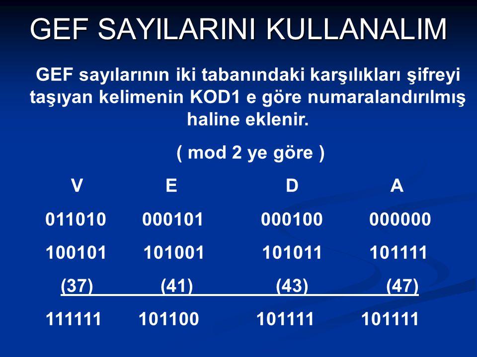 GEF SAYILARINI KULLANALIM GEF sayılarının iki tabanındaki karşılıkları şifreyi taşıyan kelimenin KOD1 e göre numaralandırılmış haline eklenir. ( mod 2
