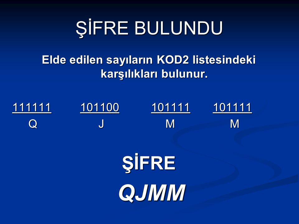 ŞİFRE BULUNDU Elde edilen sayıların KOD2 listesindeki karşılıkları bulunur. 111111 101100 101111 101111 Q J M M Q J M MŞİFRE